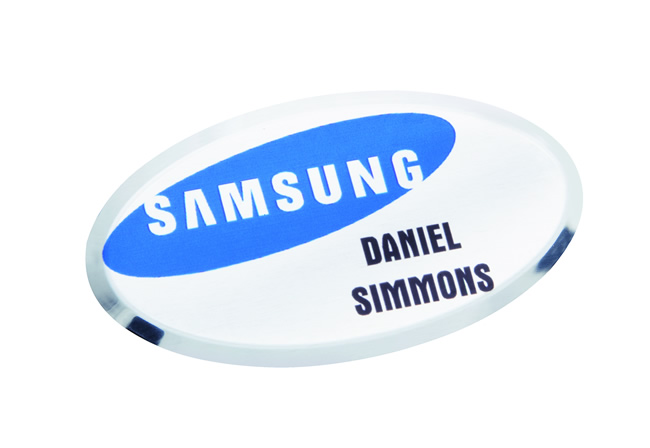 Oval Metal Name Badge 64mm x 34mm