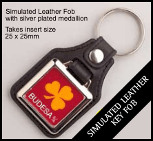 Leather Style Insert Keyring QBMD-10