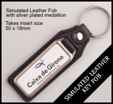 Leather Style Insert Keyring QBMD-18