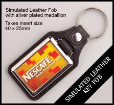 Leather Style Insert Keyring QBMD-40