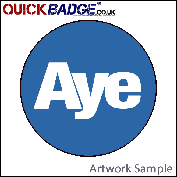 38mm (1 1/2 Inch) Aye Blue Pin Badges