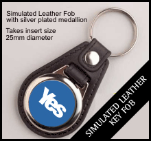 Yes Leather Style Insert Keyring QBMD-25