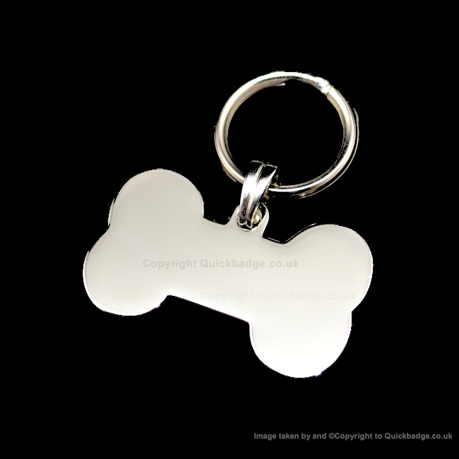 Polished Chrome or Brass Plated Small Bone Pet Tag