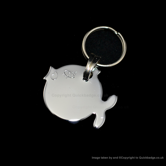 Fish Cat Tag Polished Chrome or Brass