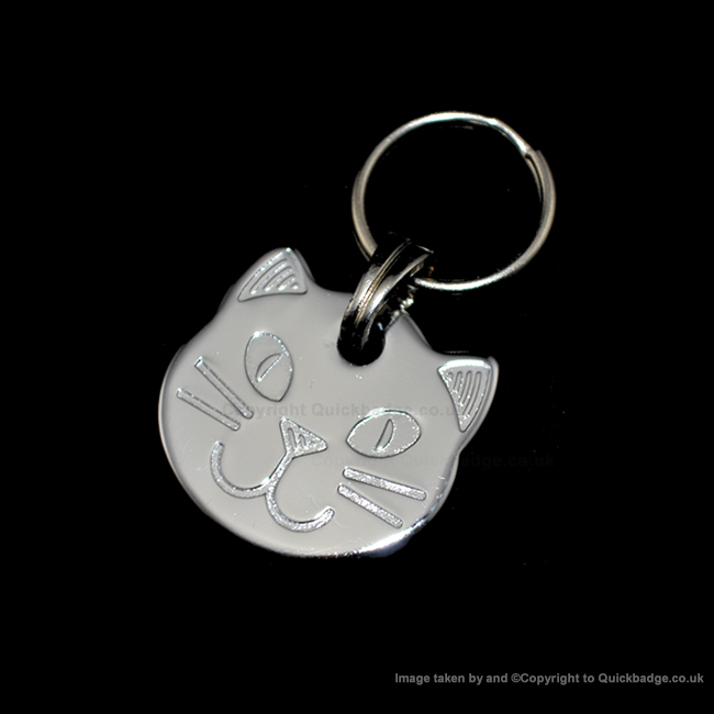 Cat Head Pet Tag Polished Chrome or Brass