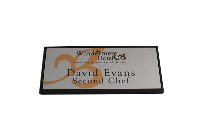 Rectangle Metal Black Framed Badge 68mm x 30mm