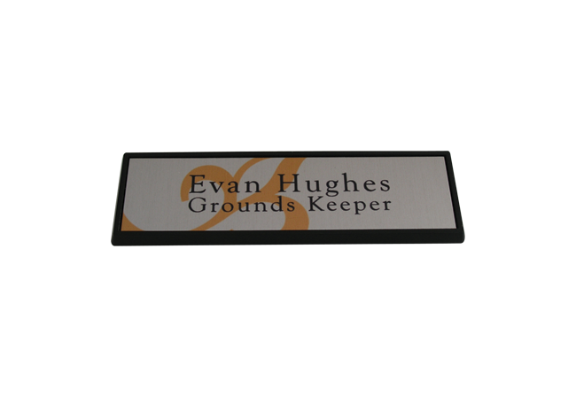 Rectangle Metal Black Framed Badge 67mm x 21mm