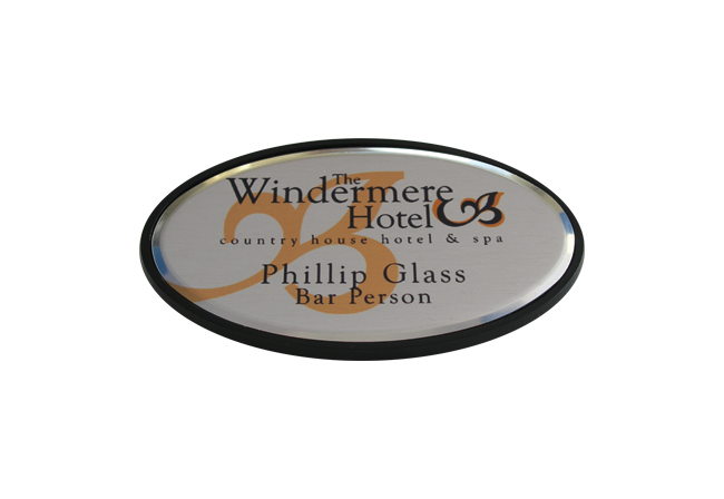 Oval Metal Black Framed Badge 73mm x 43mm