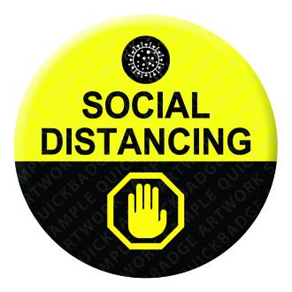 Social Distancing Button Pin Badge