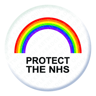 Rainbow Protect the NHS Button Pin Badge