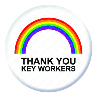 Rainbow Thank you Key Workers Button Pin Badge