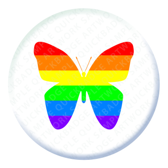 Rainbow Butterfly Button Pin Badge