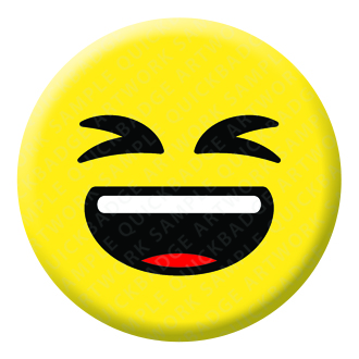 Grinning Squinting Face Emoji Button Pin Badge