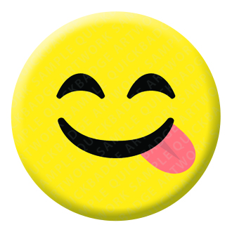Licking Lips Face Emoji Button Pin Badge