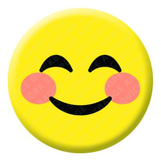 Smiling Eyes and Face Emoji Button Pin Badge