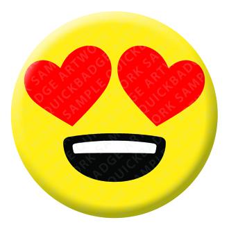 Smiling Face Heart Eyes Emoji Button Pin Badge