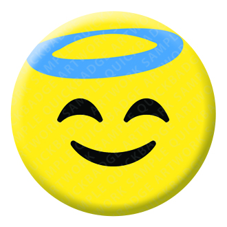 Smiling Face with Halo Emoji Button Pin Badge