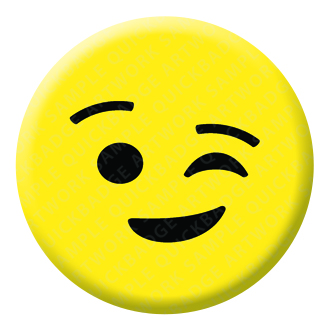Winking Face Emoji Button Pin Badge
