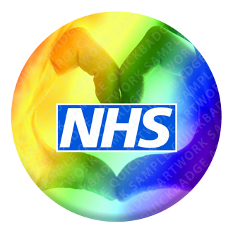 NHS Rainbow Heart Button Pin Badge