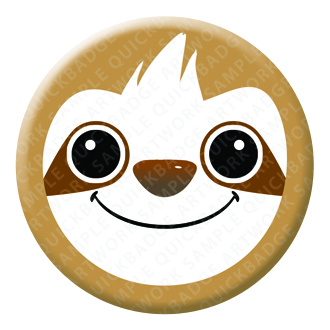 Sloth Button Pin Badge