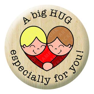 A big HUG Button Pin Badge
