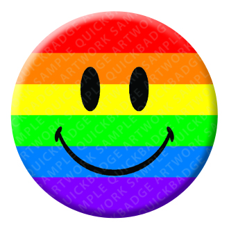 Rainbow Smiley Button Pin Badge