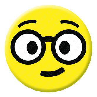 Nerd Face Emoji Button Pin Badge
