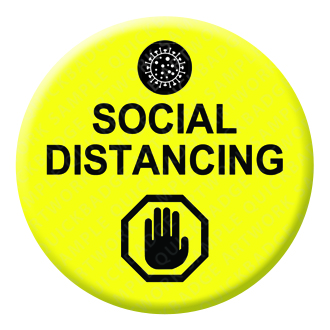 Social Distancing Yellow Button Pin Badge