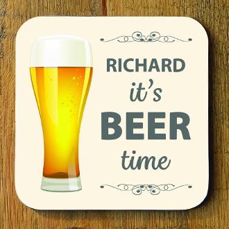 Beer Time Personalised Coaster