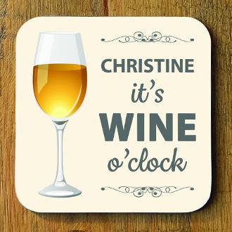 Wine O Clock Personalised Coaster