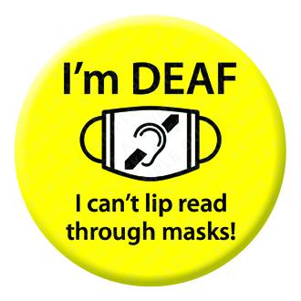 Deaf Awareness Yellow Button Pin Badge