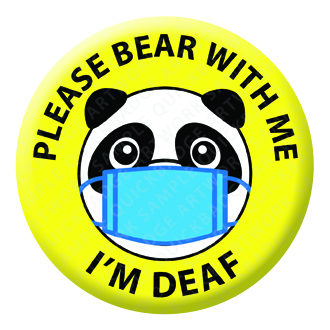 Please Bear with Me Yellow Button Pin Badge