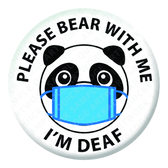 Please Bear with Me White Button Pin Badge