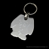 Dog Head Tag Polished Chrome or Brass
