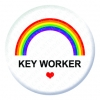 Rainbow Key Worker Button Pin Badge