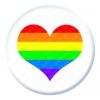 Rainbow Heart Button Pin Badge