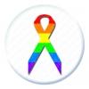 Rainbow Ribbon Button Pin Badge