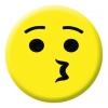 Kissing Face Emoji Button Pin Badge