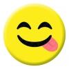 Licking Lips Face Emoji Button Pin Badge