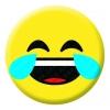 Tears of Joy Face Emoji Button Pin Badge