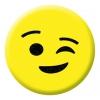Winking Face Emoji Button Pin Badge
