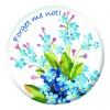 Forget me not! - White Button Pin Badge
