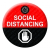 Social Distancing Red Button Pin Badge