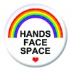 Hands Face Space Button Pin Badge